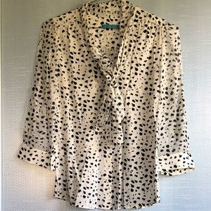 Alice & Olivia Black & White Spotted Blouse Sz M